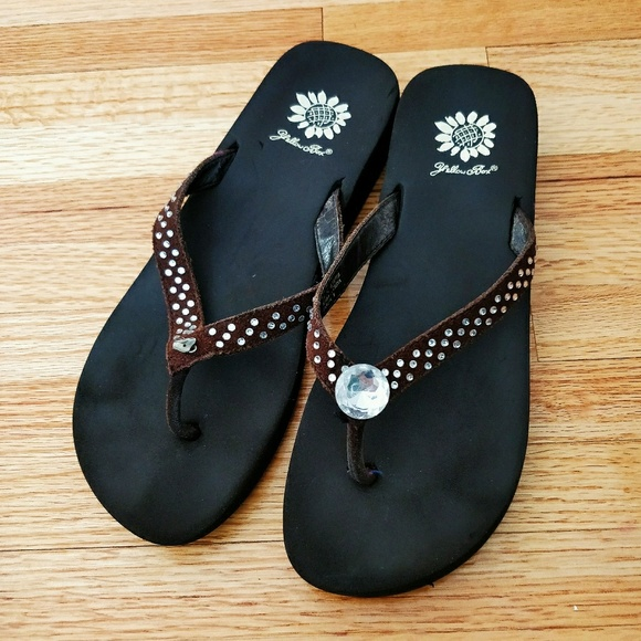 92e3464ffbc109 Yellow Box Dark Brown Rhinestone Jello Flip Flops